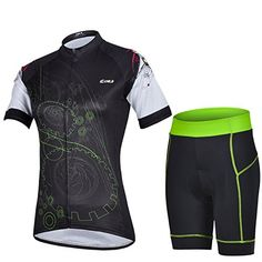 Womens QuickDry Cool Short Sleeve Cycling Jersey 3D Padded Short Set Devil Style Color BlackGreen Size XXL -- Read more  at the image link.Note:It is affiliate link to Amazon.