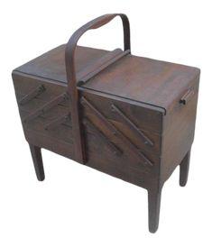 1960s Mid-Century Danish Modern Norwegian Sewing Caddy Stand on Chairish.com