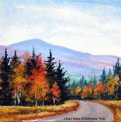 mini watercolor paintings | Yessy Home > Varvara Harmon > Mini Watercolor Painting > Mountain Road