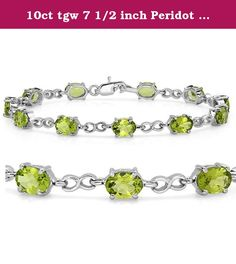 10ct tgw 7 1/2 inch Peridot Tennis Bracelet set in Sterling Silver. 10 plus carats of peridot set in sterling silver, measuring 7 1/2 inches end to end. The birthstone for august in this lovely silver bracelet.