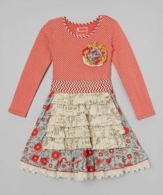 Look at this #zulilyfind! Crimson Floral Reagan Apron Dress - Infant, Toddler & Girls #zulilyfinds