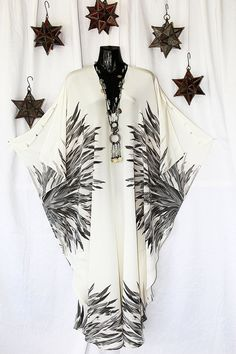 Cream and Grey Feathers Full length Pure silk by MollyKaftans, $179.00
