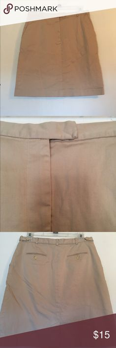 """Talbots casual khaki skirt 20.5"""" length. Cotton/spandex blend. Has 2 pockets in front, belt loops, zipper/clasp front closure. 3.5"""" slit in back. Talbots Skirts Pencil"""