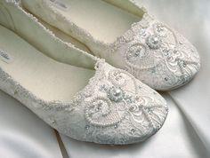 Rachel Wedding Shoes Bridal Ballet Flat Vintage Lace by pink2blue, $175.00