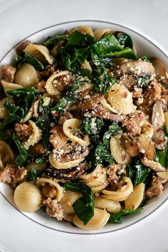 Orecchiette with Collard Greens, Sausage & Mixed Mushrooms recipe from Cooking with Cocktail Rings Quick Collard Greens Recipe, Mixed Greens Recipe, Pasta Recipes, Dinner Recipes, Comfort Food, Mushroom Recipes, Pasta Dishes, Cocktail Rings, Sausages