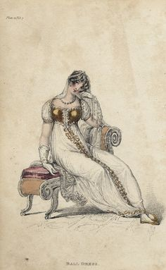 February ballgown, 1812 England, Ackermann's Repository