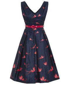 Valerie  Navy Bird of Paradise Print Swing Dress. Lindy Bop ... 721e51e644b