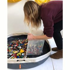 Honestly, the easiest way to cleanup LEGOs! Swoop Bags are durable toy storage bags - ideal for small toys like legos! Cleanup made simple. Check out our selection of fun colors and sizes. Made in USA - SEATTLE. Outdoor Toy Storage, Ikea Toy Storage, Toy Storage Bags, Storage Ideas, Small Storage, Lego Display, Lego Kits, Lego Sack, Lego Regal