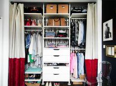 IKEA Stolmen Closet With Birch Wallpaper Linen And Velvet Curtains