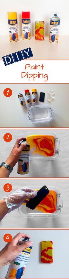 Wir hatten mal wieder Lust auf Hydro Dipping! Der Trend ist zwar nicht mehr der aktuellste, aber die Technik eignet sich einfach perfekt dafür, wenn aus anderen DIYs verschiedene belton Lacksprayfarben übrig geblieben sind. Deswegen haben wir aus einer einfachen Handyhülle in wenigen Schritten einen echten Hingucker gemacht! Das wichtigste dabei: Einfach machen und sich etwas trauen! Dann wird das Muster richtig spannend und das Ergebnis in den meisten Fällen sehr schön. Spray Paint Projects, Diy Spray Paint, Paint Dipping, Painting, Home And Garden, Products, Simple, Patterns
