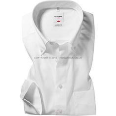 Olymp - Olymp White Poplin Shirt - Button Down Collar - Comfort Fit