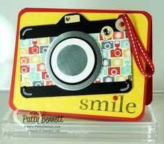 Punch Art Camera Card, made easy with the envelope punch board and circle framelits from Stampin' Up! by Patty Bennett, www.PattyStamps.com
