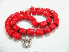 Chunky Red Coral Necklace Natural Bamboo Coral by SanaGem on Etsy, $89.00