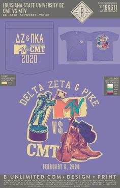 Delta Zeta x PIKE MTV vs. CMT Mixer Shirt   Sorority Event   Greek Event #deltazeta #deezee #dz #mtv #cmt #pikappaalpha #pike #pka Alpha Gamma Rho, Delta Zeta, Louisiana State University, University Of Tennessee, Greek Life, Sorority, Mtv, Mixers, Shirts