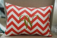 Monogrammed Coral Chevron Print Throw Pillow by Tootledoo Designs - modern - pillows - Etsy Coral Chevron, Chevron Monogram, Coral Color, Chevron Throw Pillows, Monogram Pillows, Chevron Curtains, Bright Pillows, Modern Pillows, Haciendas