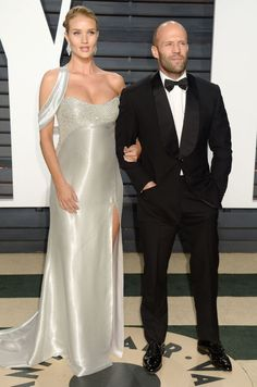 Actor Jason Statham and his girlfriend Rosie Huntington-Whiteley couple up for the 2017 Vanity Fair Oscar Party. #glamorous #bestdressed #oscars #academyawards #oscarawards #celebrity #celebritystyle #fabfashionfix #vanityfair #afterparty #jasonstatham #rosiehuntingtonwhiteley