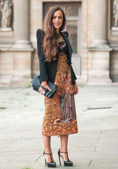 Sandra Bauknecht Dolce & Gabbana skirt and top, Balmain jacket, Valentino bag, Saint Laurent shoes (@sandrascloset).  #PFW Spring 2014