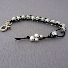 Golf Stroke Counter, Gift for Golfer, Water Counter, Silver Beaded Golf Counter, Celtic Rondelle, Gift for Her, Black Cord, Knitting Counter
