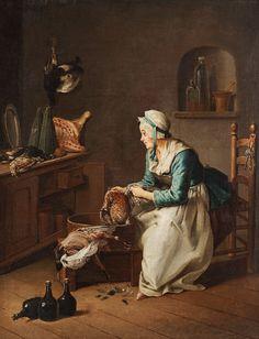 """PEHR HILLESTRÖM, """"En som plåckar fågel"""". Otydligt signerad Hilleström på kistan. Utförd omkring 1776."""