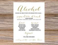 Custom Calligraphy Wedding Bar Menu ~ DIY Printable File ~  Use coupon code PINTEREST15 at checkout for 15% off of your total order