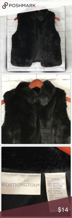 "Worthington S Faux  Mink Fur Vest Black Worthington S Faux  Mink Fur Black Vest. Pit to pit measures 20"" Length 23"" Gently Used with no flaws.  Open to offers ❤️ Worthington Jackets & Coats Vests"