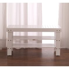 Roundhill Furniture Solid Wood Entryway Bench Color: White