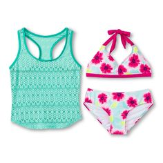 Girls' 3-Piece Floral Bikini and Crochet Cover Up Tank Set