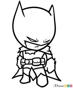 Cartoon Drawing Ideas How to Draw Batman, Chibi - How to Draw . Drawing Tips how to draw batman Cool Drawings For Kids, Best Anime Drawings, Drawing Cartoon Characters, Cartoon Sketches, Character Drawing, Drawing For Kids, Easy Drawings, Drawing Sketches, Pencil Drawings