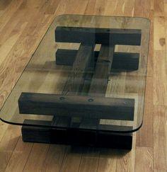 Wood & Glass Tea Table .