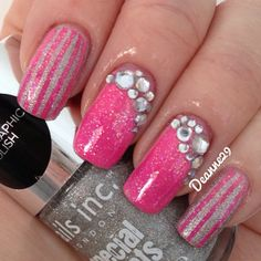 Pink and silver nails!!! Bebe'!!! Love the crystal accents!!!