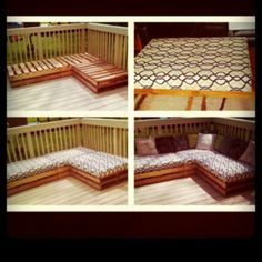 DIY Pallet Couch. All I want is to live with @Rachel Dionne and make stuff for our fun house. Like this. We'd have an amazing backyard. And house for that matter.