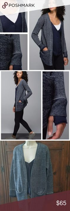 Lululemon Vestigan Super Cute and Cozy Navy Blue Cardigan with Attached Vest. Front Pockets. Button Front Vest. Slightly Longer in Front. Awesome Worn With Leggings and Boots. Must Have For Fall and Winter! Size tag is off but it is a loose Fitting Size 8.  In excellent condition. lululemon athletica Sweaters Cardigans