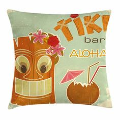 Ambesonne Tiki Bar Decor Drink Mask Flora Square Pillow Cover Size: x Tiki Bar Decor, Tiki Bars, Decorative Cushions, Velvet Pillows, Throw Pillow Sets, Outdoor Throw Pillows, Flora, Design, Office Playroom