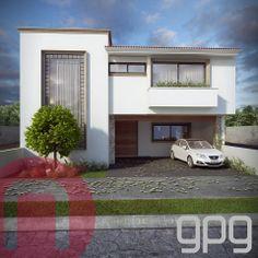 Fachada 1 de casa bz. #GpgConstructora #GpgStudio #Guadalajara #Arquitectura