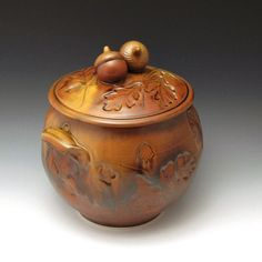 Red Oak Jar by baumanstoneware on Etsy