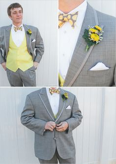yellow and gray groom ideas