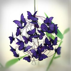 Lampara con mariposas violetas — At last! Crafts Iluminación