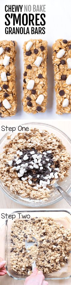 Homemade S'mores Granola Bars... It's like combination of a granola bar and a rice crispy treat!