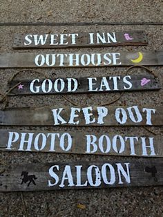 Party decor idea: Homemade directional signs made from old barwood and painted with western stencils. Baby Shower Parties, Baby Shower Themes, Cowboy Party Decorations, Boy Birthday, Birthday Ideas, Zombie Halloween Party, Turquoise Party, Little Cowgirl, After Prom