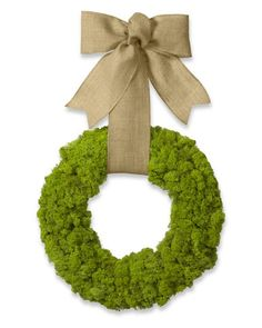 Front dooe decor - Moss Wreath with Burlap Ribbon - Williams Sonoma Outdoor Wreaths, Wreaths And Garlands, Burlap Ribbon, Burlap Wreath, Grapevine Wreath, Garland Hanger, Moss Wreath, Hydrangea Wreath, Easter Wreaths