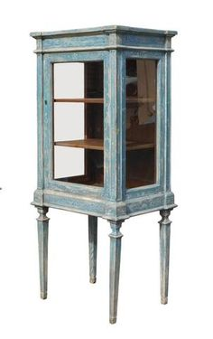 Oriental Shabby Chic Blue Tall Glass Cabinet cs1328S