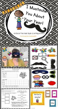 "$ LOOKING FOR SOMETHING DIFFERENT? ""I Mustache You About Your Year"" becomes a student favorite because the base of the glyph uses student pictures.  This glyph becomes a teacher favorite because it is low prep and full of hilarity…just what you need to send them on their way to summer vacation with a smile and a heart full of great memories."