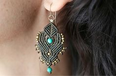 micro macrame earrings, hoop earrings for women. turquoise beads, copper beads, handmade, dangle beaded earrings, great gift