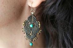 micro macrame earrings, hoop earrings for women. turquoise beads, copper beads, handmade, dangle beaded earrings, great gift