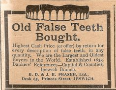 what a hoot. sale your teeth adv from December 30,1911,