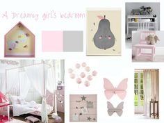 A grey & pink girl's bedroom moodboard , girl bedroom ideas for a pink and grey children bedroom