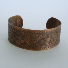 Copper Cuff Bracelet Art Nouveau Embossed Design Vintage Jewelry