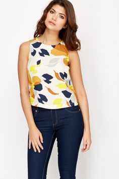 Floral Print Button Back Top