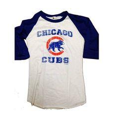 186c459bf Chicago Cubs Women s Burnout 3 4 Sleeve Raglan Top