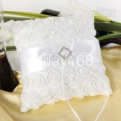 High quality Wedding favors rhinestone white rose Satin Ring Pillow for Wedding Ceremony Party Stuff Accessories